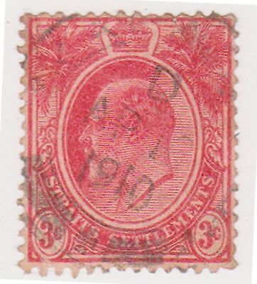 (MS-12) 1906 Straits settlements 3c red Edward VII (B)