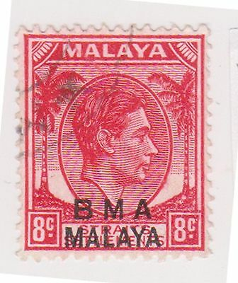 (MS-118) 1945 Malaya BMA O/P 8c red & black KGV (F)