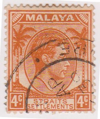 (MS-68) 1937 Malaya 4c orange KGV (A)