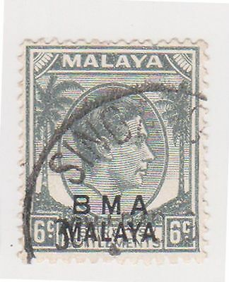 (MS-110) 1945 Malaya BMA O/P 6c grey &black (D)