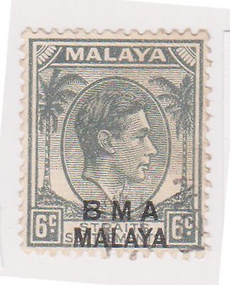 (MS-109) 1945 Malaya BMA O/P 6c grey& black KGV (C)