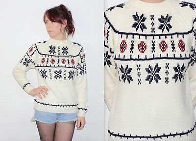 Vintage 80's Cream Blue Red SNOWFLAKE Crew Neck Collar CHRISTMAS WINTER Jumper S