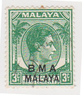 (MS-102) 1945 Malaya BMA O/P 3c green & black KGV (C)