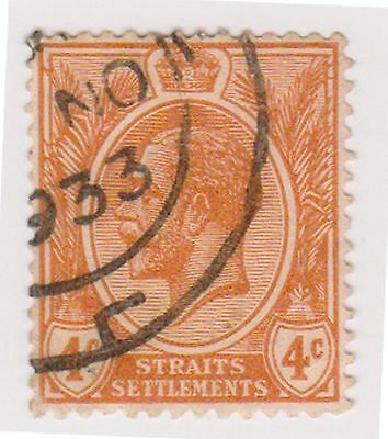(MS-29) 1919 Straits settlements 4c orange KGV (B)