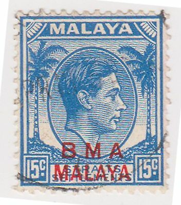 (MS-136) 1945 Malaya BMA O/P 15c blue & red KGV (B)