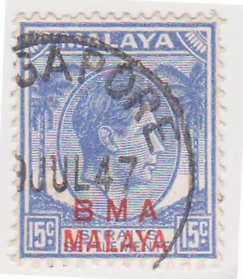 (MS-137) 1945 Malaya BMA O/P 15c blue & red KGV (C)