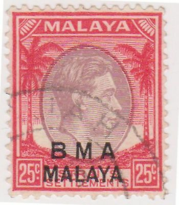 (MS-143) 1945 Malaya BMA O/P 25c red& purple KGV (C)