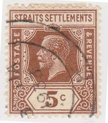 (MS-37) 1919 Straits settlements 5c brown KGV (A)