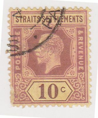 (MS-46) 1912 Straits settlements 10c purple& yellow KGV (C)