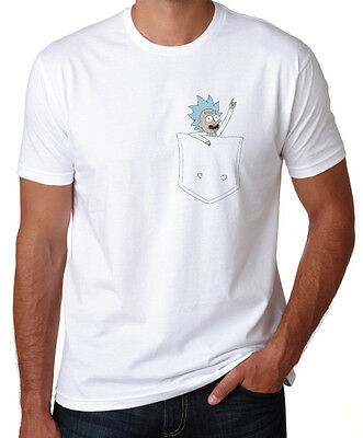 Rick And Morty Incredibly Tiny Pocket Rick Funny Cartoon New White T Shirt