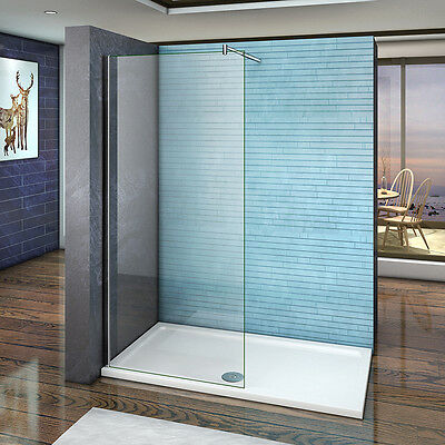 Aica Walk in Wet Room Shower Enclosure & Tray 8mm NANO Glass Screen Cubicle