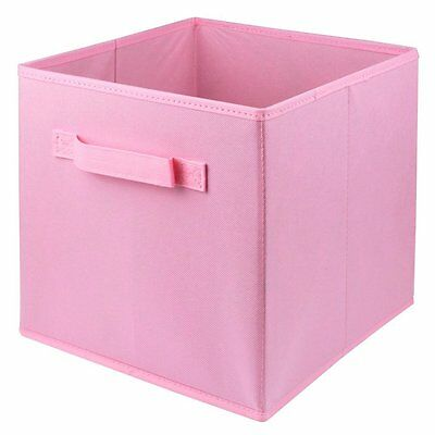 3PK Folding Fabric Storage Bin Collapsible Box Girl Kids Toy Organizer Cube Pink