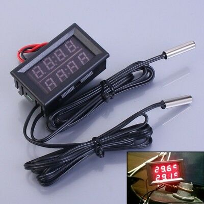 Dual Red LED Digital Display Thermometer Waterproof Temperature Sensor 0.56 Inch