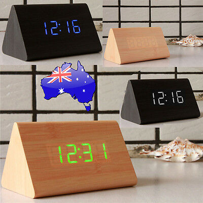Bamboo Wood Triangular LED Alarm Digital Desk Clock Wooden USB Home AU 2017