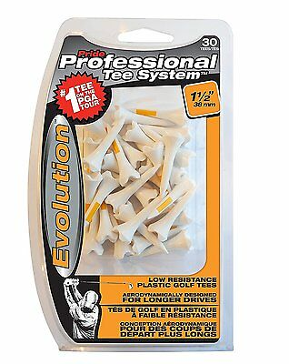 Pride Professional Tee System Evolution Plastic Golf Tee, 30-Pack, 1-1/2-Inch