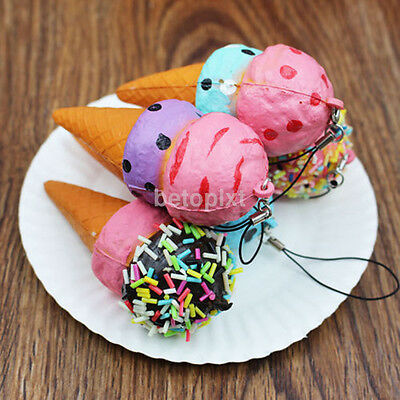 10CM Squishy Scented IceCream Cone Slow Rising Soft Squeeze Fun Toy Gift Keyring