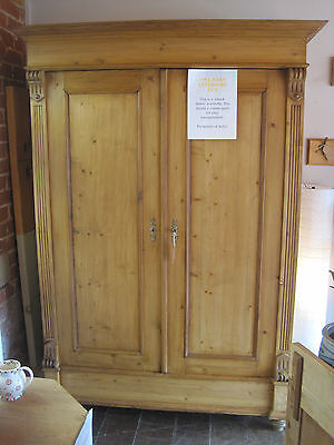 Beautiful old antique stripped pine double wardrobe 'knockdown' construction.