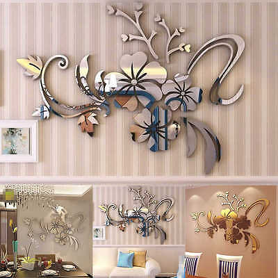 Flower Wall Stickers Home Decor Mirror Decals For Bedroom Decorations Art Mural