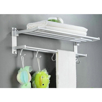 Chrome Wall Mounted Bathroom Towel Rail Holder Storage Rack Shelf Bar