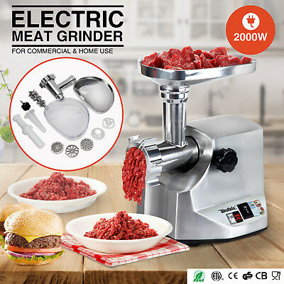 New 2000W Electric Meat Grinder Sausage Stainless Steel Stuffer 3 Cutting Blades