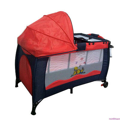 Portable Infant Child Baby Travel Cot Bed Playpen Bassinet & Entryway Red