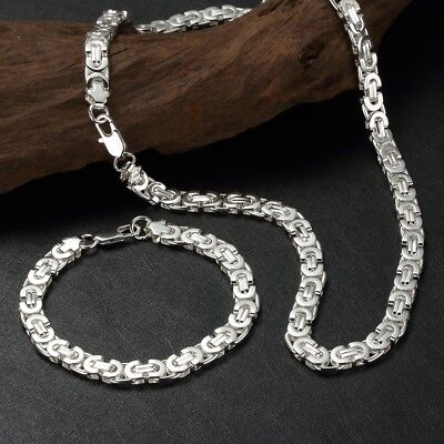 Men's 925 Sterling Silver Plated Necklace Chain + Bracelet Jewelry Set Gift 60cm