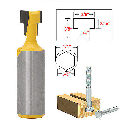 1/2'' Shank 3/8'' T-Slot Cutter Steel Handle Milling Router Bit For Woodworking