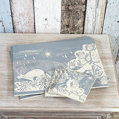 Set of 4 Placemats & Coasters Table Settings Mats Artisan Hare Grey Faux Leather