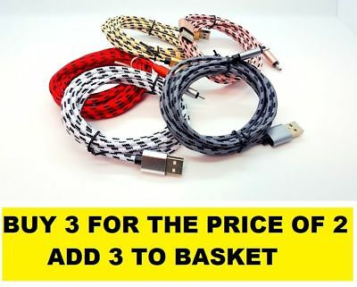 NEW Strong Fabric Braided Micro USB Charger Cable Data Sync Lead fits SAMSUNG s6
