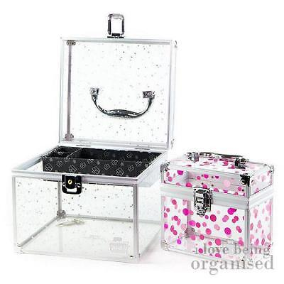Girls Large Accessories Box | Silver Stars Clear Carry Case | Caboodles Acrylic