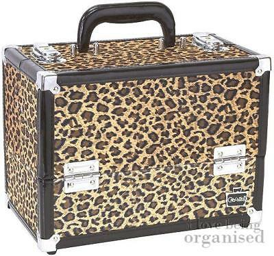 Cheetah Print Large Makeup Cosmetic Organiser Train Case w/ Folding Trays