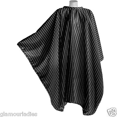 DMI Professional Black Vintage Pinstriped Barber Cape With Hook Fastening