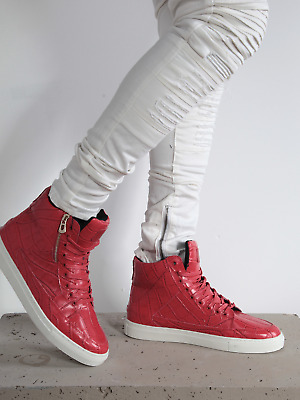 22b851db2fde2 883 Police Mens Force Red Leather Shoes Hi Top Fashion Trainers Rubber Sole