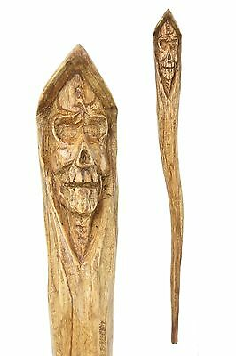 'Death' walking stick / cane / staff - Hand carved from Jempinis Hardwood