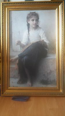 'Girl Sewing' by William Bouguereau 1825-1905 on Canvas in Gold Frame Victorian