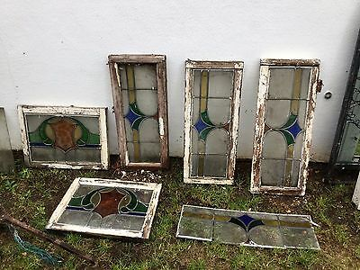 Original Stained Glass Lead Window Panes - 1930's - 5 (plus spare)