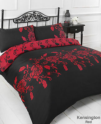 Kensington Red Black Floral Duvet Cover with Pillow Case Bedding Set Double Size