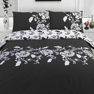 Duvet Cover with Pillow Case Quilt Bedding Set - Kensington Floral Black White