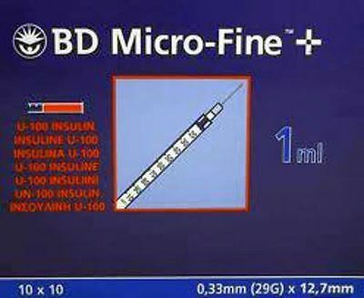 BD Micro-Fine U100 1ml Syringe 0.33mm (29G) x 12.7mm BOX OF 100**Free Post**