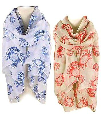 Sea Life series Oblong Scarf - CRAB Lot of 2