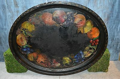 "Antique Large Toleware Oval Black Tole Tray with Painted Fruit 22"" x 17"""