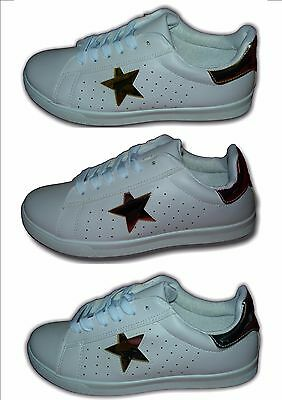 Ladies Girls Classic Retro Trainers White/gold/Silver,Pink SUPERSTAR Sizes 3-8