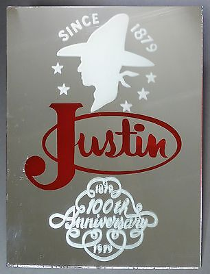 Rare Justin Boots Mirror Advertising 100th Anniversary
