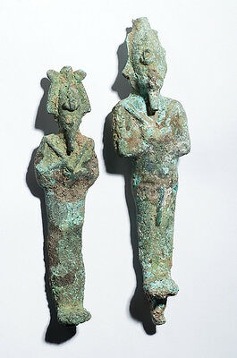 Lot of 2 Ancient Egyptian Figures of Osiris Late period, ca. 700-30 B.C.