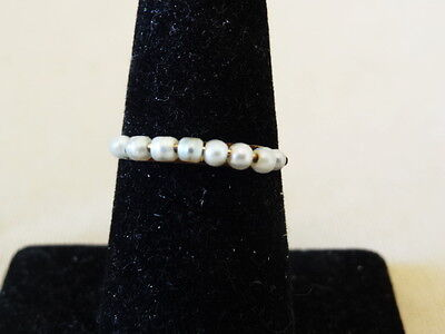 Unusual Wired Seed Pearl & 10K Gold VICTORIAN Ring