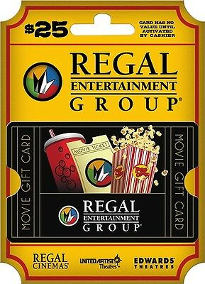 $25 REGAL CINEMAS Gift Card~ Edwards Theaters~ United Artists ...