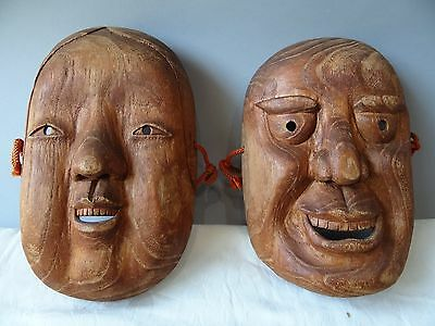 Vintage Chinese Masks of Old couple Hand Carved Wood