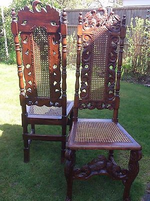 A Pair of Antique 17th Century Revival Carved Walnut Side Chairs