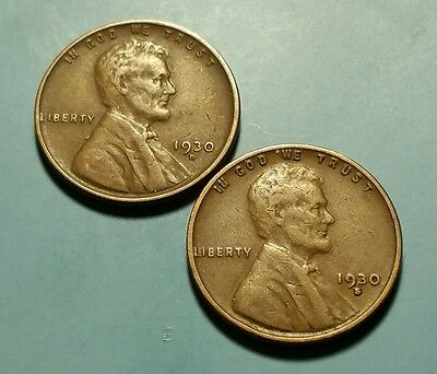 1930 D S  Lincoln Wheat Penny 2 Coin Set  #w5576