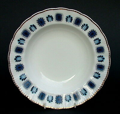 Lubern Artic Blue Bone China 22kt Gold Trim Lg Rim Soup Dessert Plate Bowl 23cm